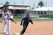 12 year old Jeremiah trying to stretch a double into a triple